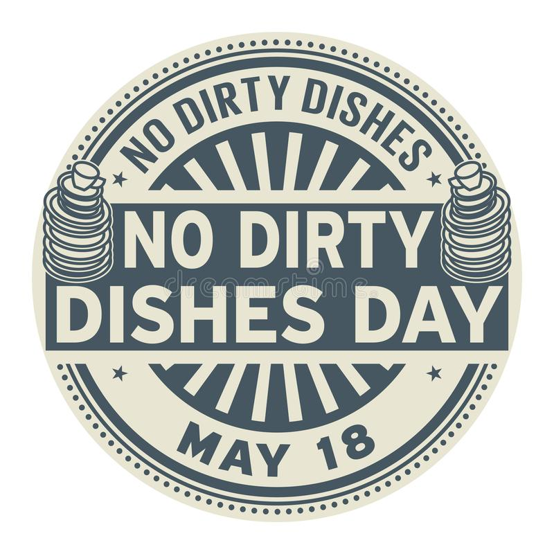 No Dirty Dishes Day stamp royalty free illustration