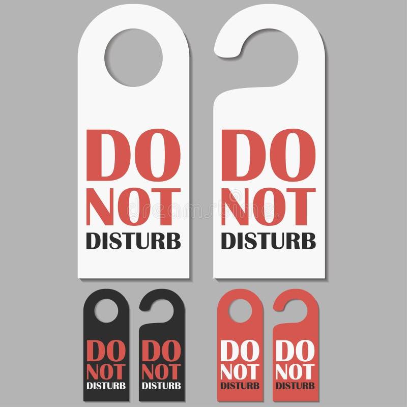 No disturbe las muestras fijadas Insignia de las puertas del hotel Vector stock de ilustración