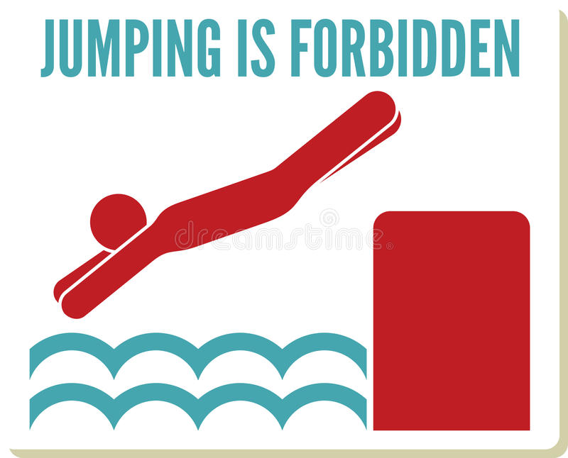 No diving and jumping sign royalty free illustration