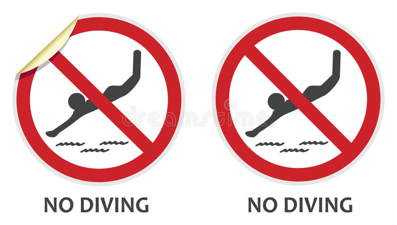 No Diving Sign royalty free illustration