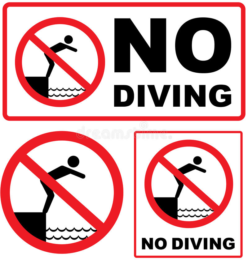 No Diving Sign vector stock illustration