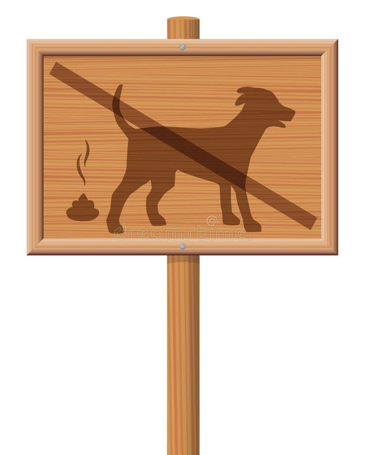 No Dog Poop Zone Wooden Signboard vector illustration