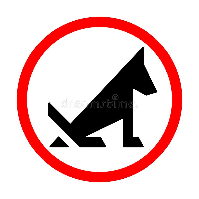 No dog pooping prohibition sign isolated on white. Vector illustration royalty free illustration