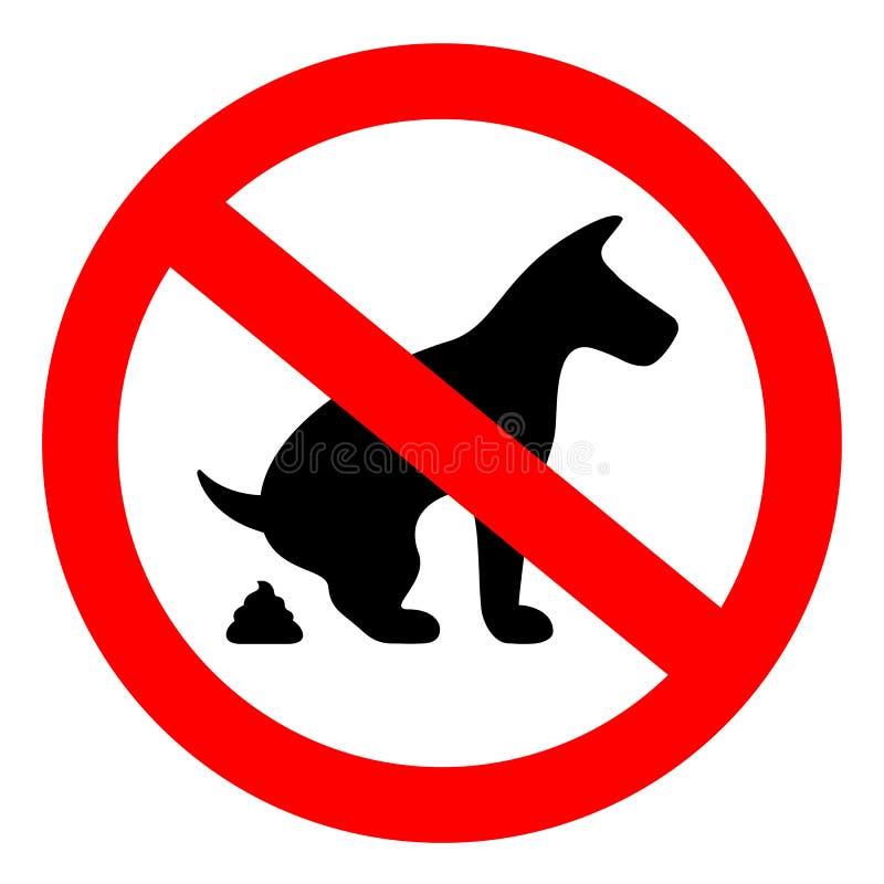 No dog pooping sign. On white background stock illustration