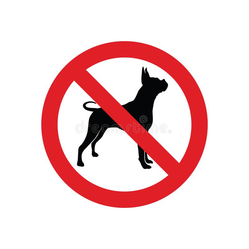 No dog prohibition symbol for sign or icon vector in red color. Template royalty free illustration