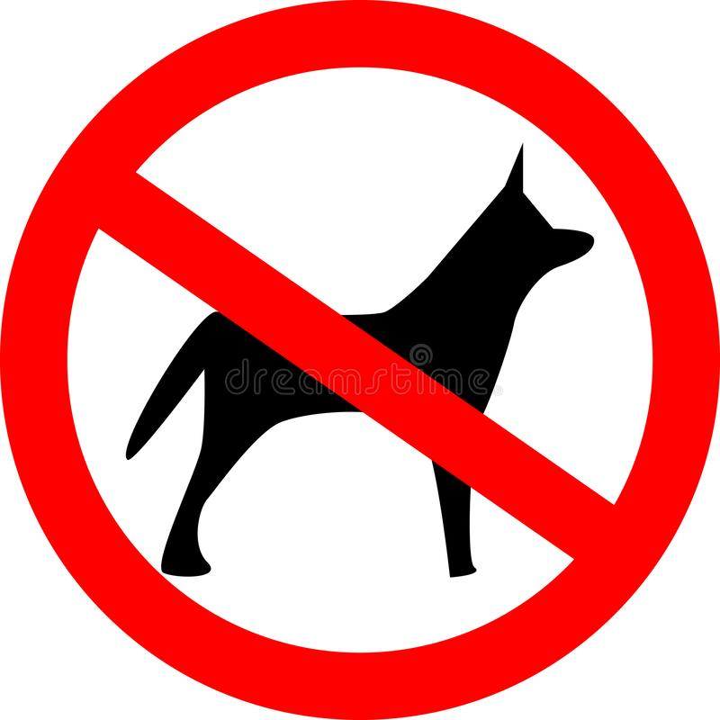 No dogs allowed. Dog prohibition sign stock illustration