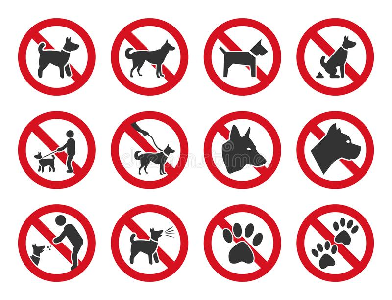 No dogs allowed, dog prohibition sign set. No dogs sign, dog prohibition icons set royalty free illustration