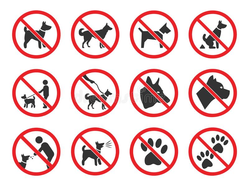 No dogs sign, dog prohibition icons set. No dogs allowed, dog prohibition sign set vector illustration
