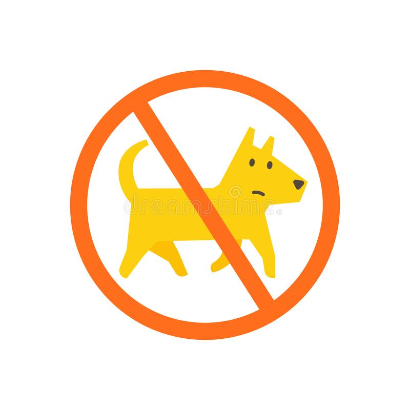No dogs allowed. Dog walking is prohibited. Sign of the ban in the park. With a dog is impossible. No entry allowed. Vector illustration vector illustration