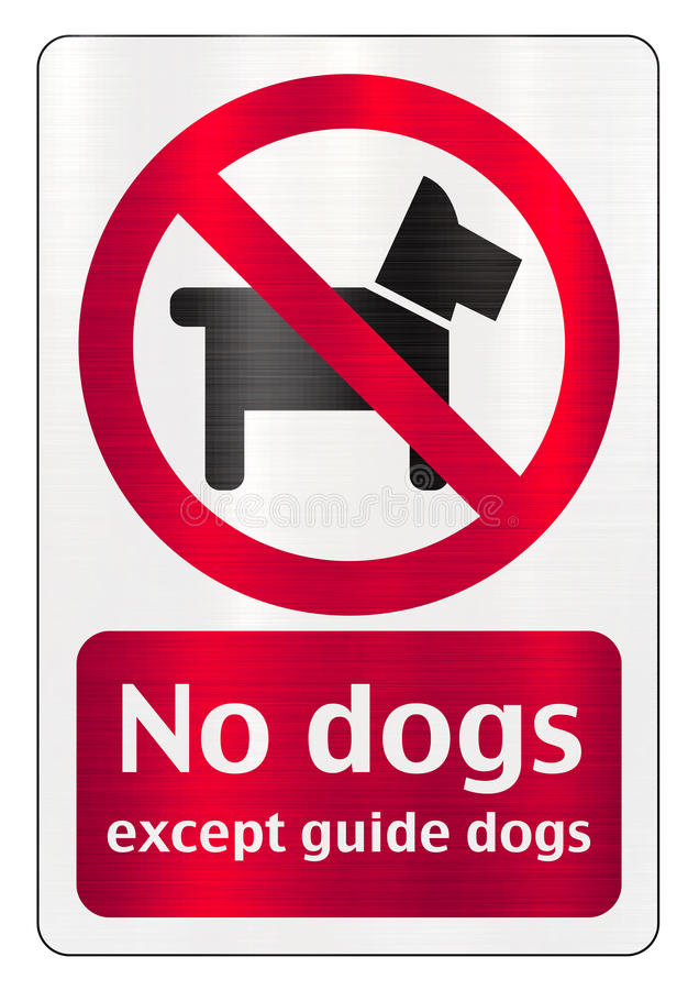 No dogs allowed except guide dogs vector illustration