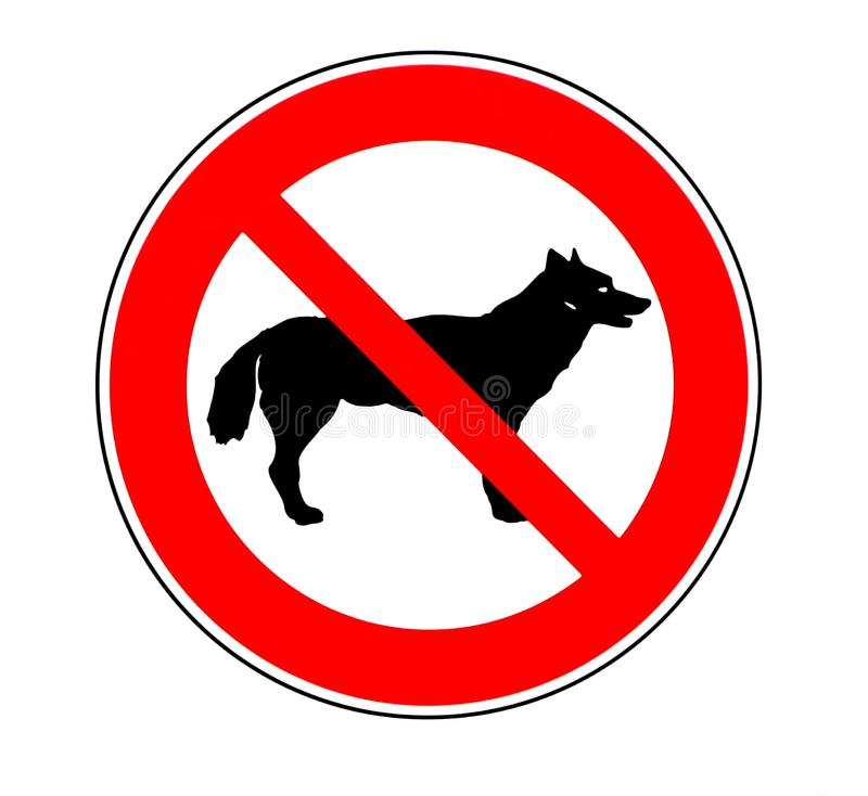 No dogs allowed sign. Illustration on white background. Dog silhouette stock illustration