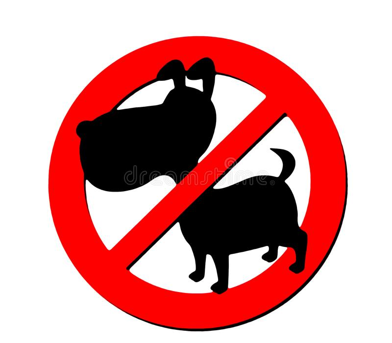 NO dogs allowed sign. With silhouette of a puppy domestic pet vector illustration