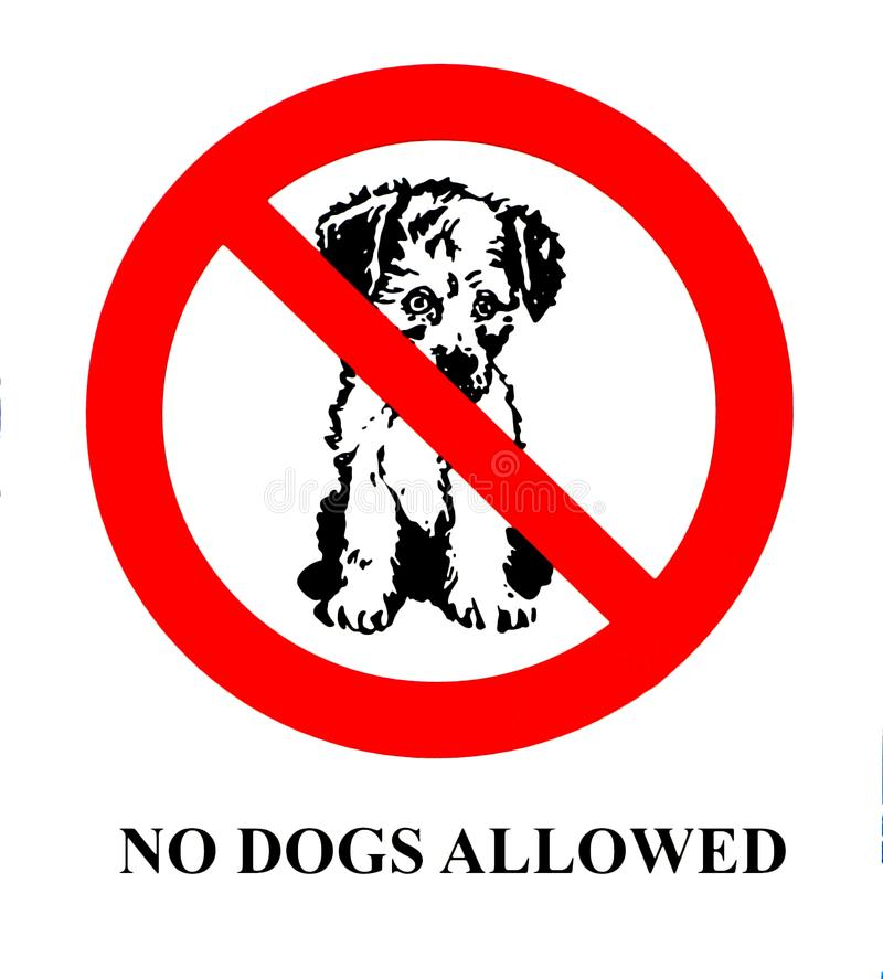 No dogs allowed sign with the silhouette of a puppy sitting. No dogs allowed sign with the silhouette of a puppy pet sitting royalty free illustration