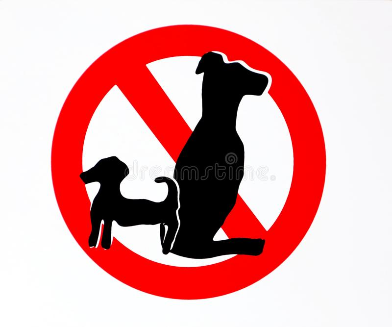 No dogs allowed sign with the silhouettes of two animals, one small and one large.  stock illustration