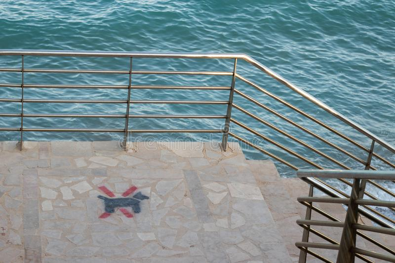 No dogs allowed sign in the beach. No dogs allowed sign in the stairway to the beach royalty free stock image