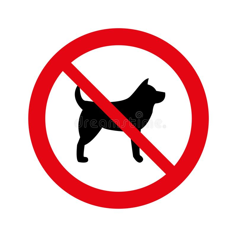 No dogs allowed, warning sign isolated signage, dog stop, Not allowed. Pet stock illustration