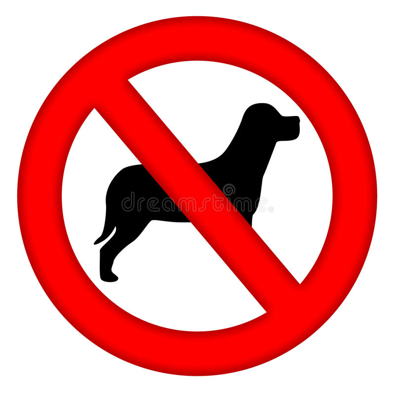 No Dogs Area Sign. With dog silhouette inside isolated over white background stock illustration