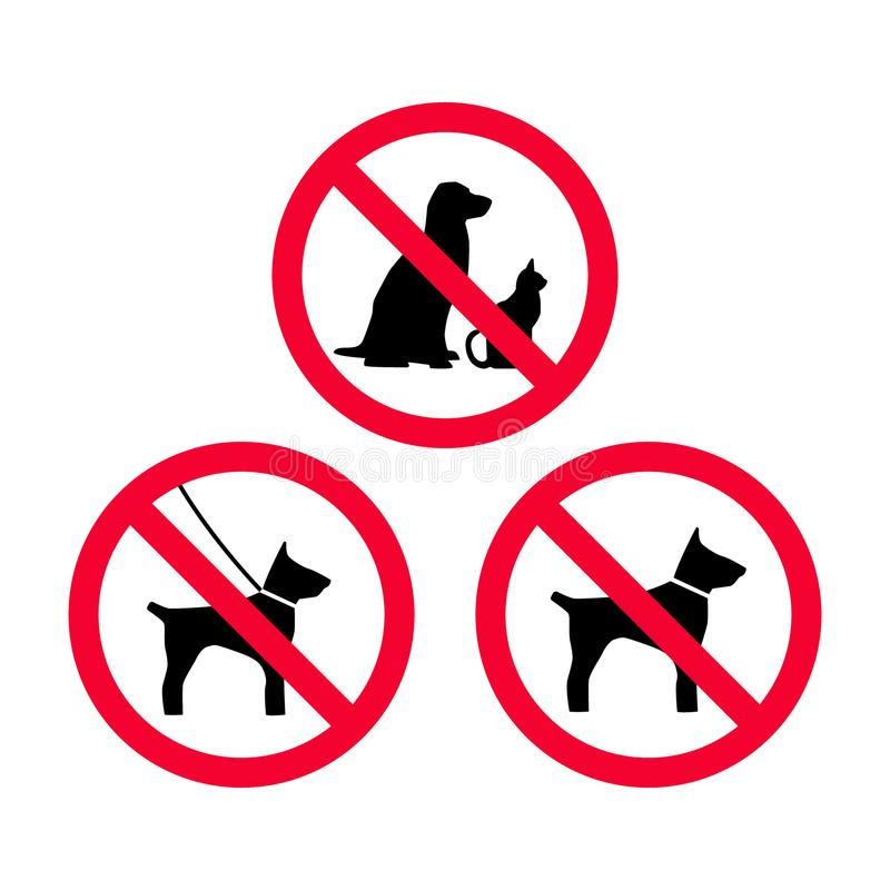 No dogs, no pets, no leash dogs, no free dogs red prohibition sign. royalty free illustration