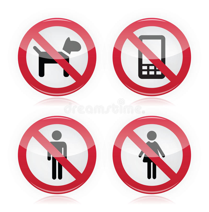 No dogs, No phones, No men, No women warninng sign. Glossy red sign - attention no dogs allowed, no phones, no man, no woman royalty free illustration