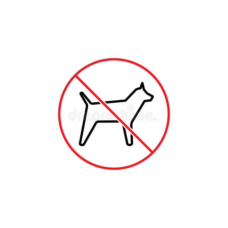 No dogs prohibition sign on white background. Thin line no dogs prohibition sign on white background royalty free illustration