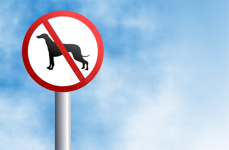 No dogs sign. No dogs allowed sign against a sky background vector illustration