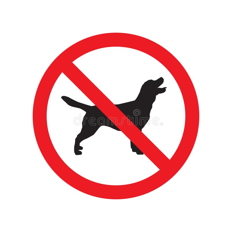 No dogs sign isolated on white background. Vector illustration stock illustration