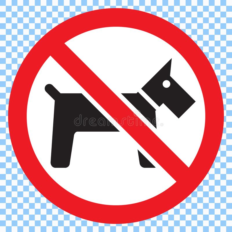 No dogs sign. Prohibitory sign with dog silhouette on transparent background stock illustration