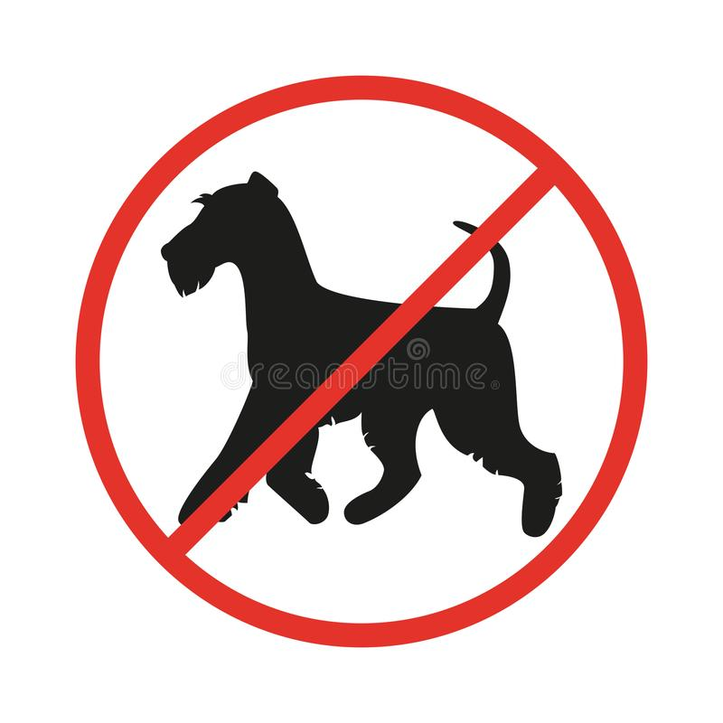 No dogs sign on the white background. Vector illustration royalty free illustration