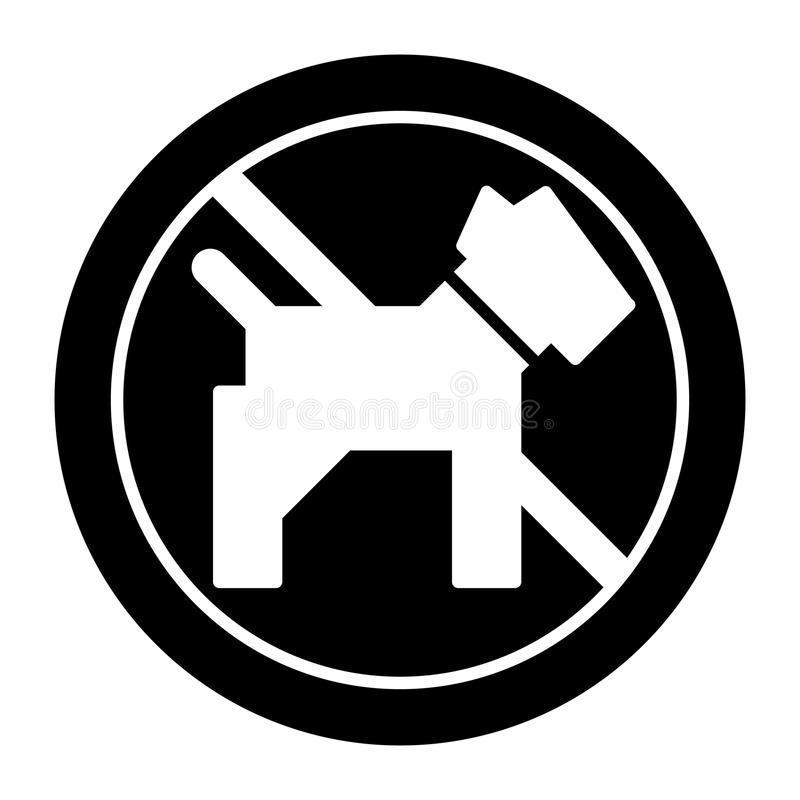 No dogs simple vector icon. Black and white illustration of dog and forbidden sign. Outline linear pet icon. Eps 10 stock illustration