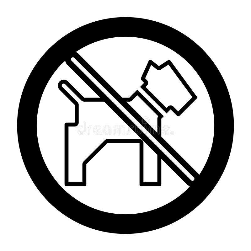 No dogs simple vector icon. Black and white illustration of dog and forbidden sign. Outline linear pet icon. Eps 10 vector illustration