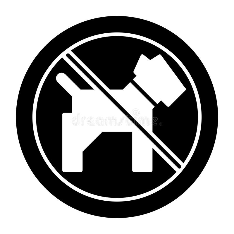 No dogs simple vector icon. Black and white illustration of dog and forbidden sign. Solid linear pet icon. Eps 10 royalty free illustration