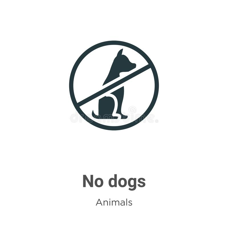 No dogs vector icon on white background. Flat vector no dogs icon symbol sign from modern animals collection for mobile concept royalty free illustration