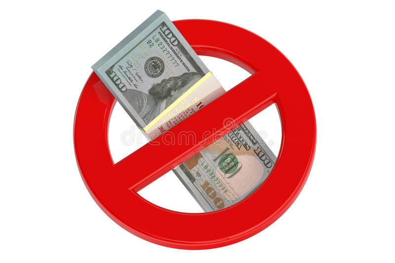 No dollar sign 3D vector illustration