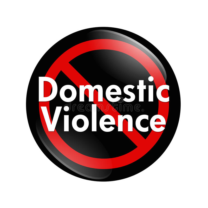 No Domestic Violence button. A black, white and red button with words Domestic Violence isolated on a white background, No Domestic Violence button royalty free illustration