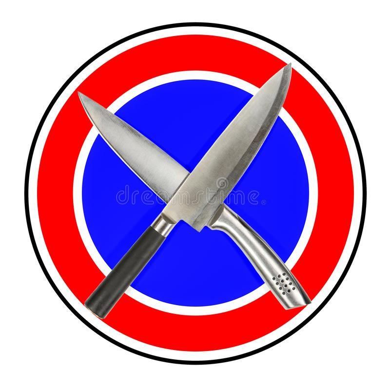 No domestic violence. Road prohibition sign: Crossed kitchen knives. Stop violence in family. royalty free stock image