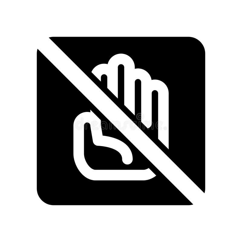 No dotyka ikona wektoru odizolowywającego na białym tle, no dotyka znaka royalty ilustracja