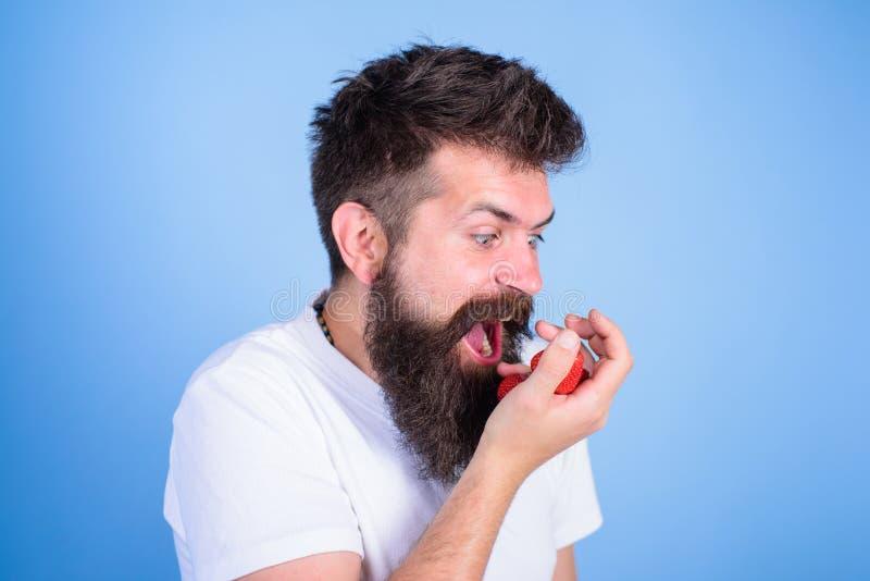 No dotyka mój jagody Modnisiów chwytów brodate truskawki na palmie Mężczyzna krzyczy głodną żądną twarz z brodą je zdjęcia royalty free