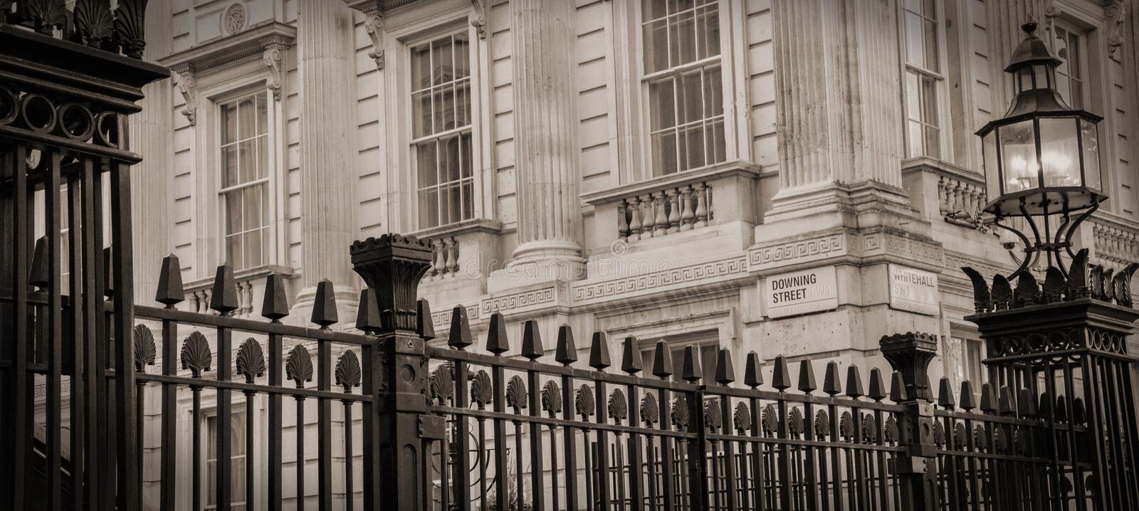 No 10 Downing Street. A close up of the gates into Number 10 Downing Street - residence of the British Prime Minster stock photo