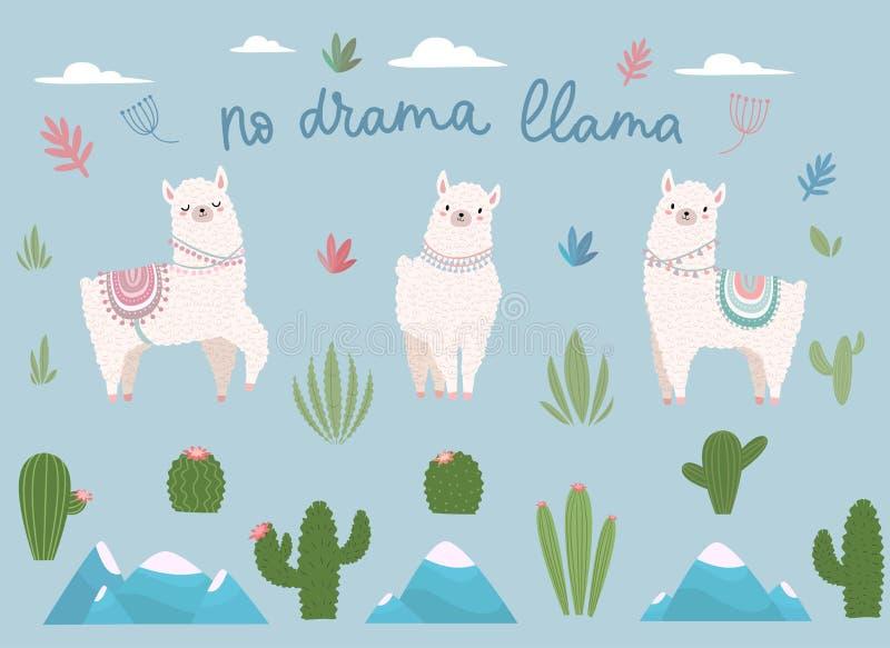 No drama llama cute cartoon set with lettering royalty free illustration