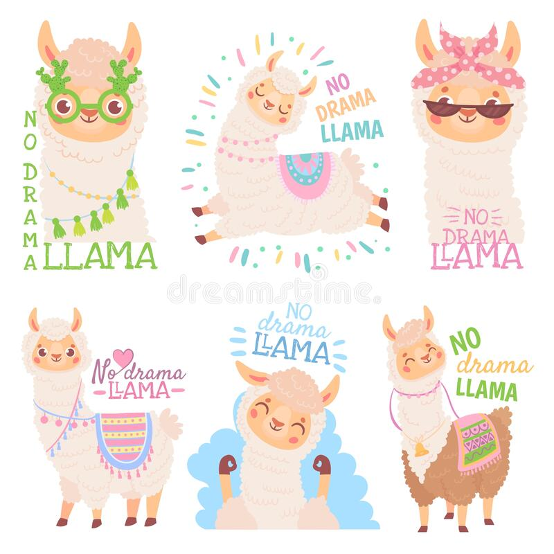 Free No Drama Llama. Funny Llamas Or Cute Alpacas Quote, Happy Mexican Alpaca Vector Illustration Set Stock Images - 171681794