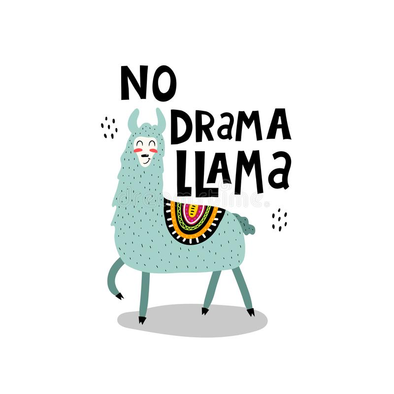 No drama llama hand drawing lettering. caricature lama with decorative elements. Flat simple vector illustration. Hand drawing for stock illustration