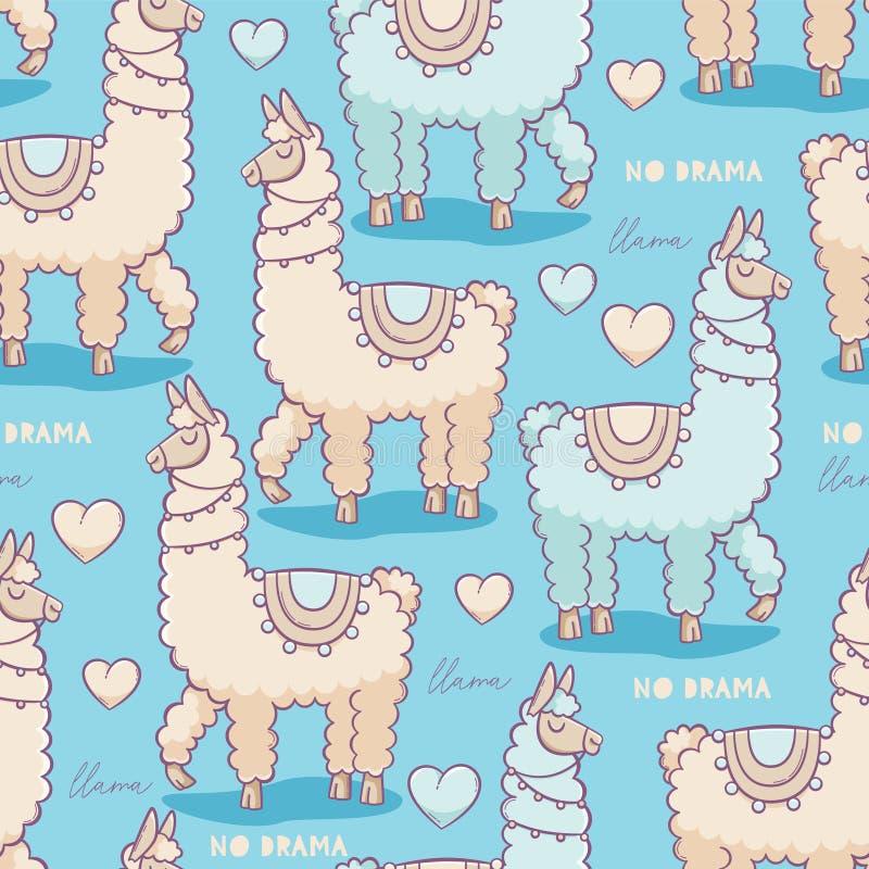 No drama llama. Vector seamless pattern, cute design royalty free illustration