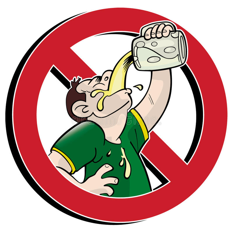 No drink!. No drinking prohibition sign cartoon style vector illustration