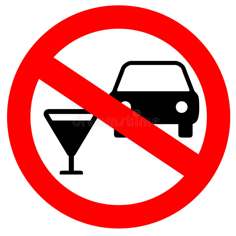 No drink and drive. Sign stock illustration