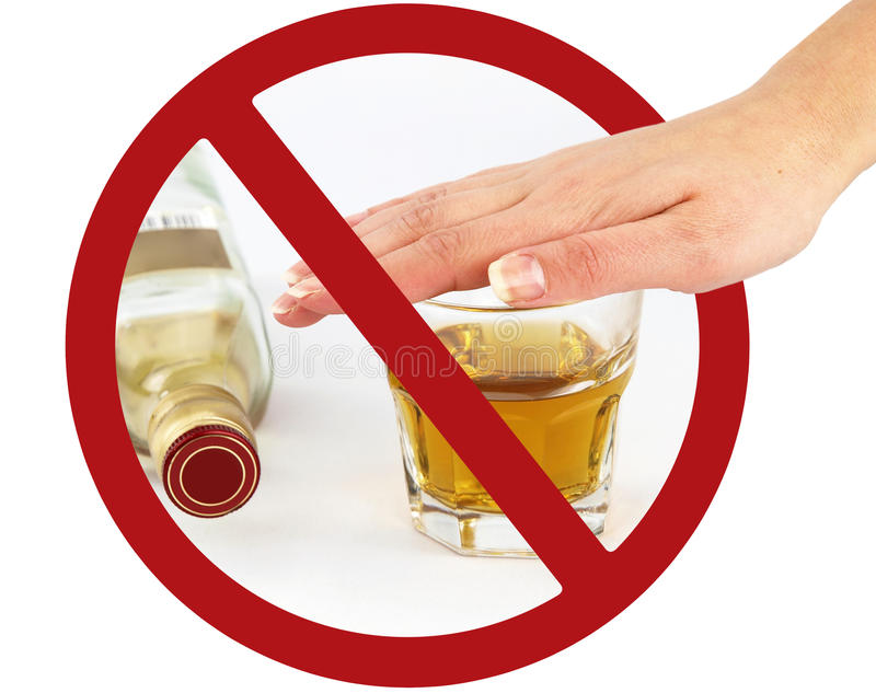 No drink sign. A glass of whisky in a prohibition sign vector illustration