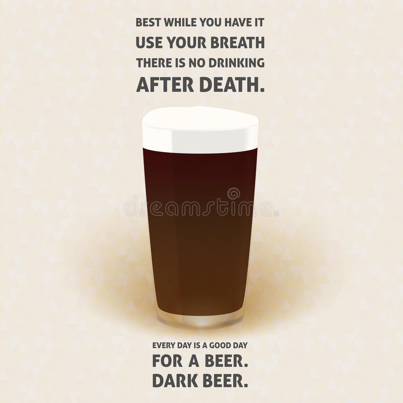 No drinking after death - dark bear phrase illustration royalty free stock photo