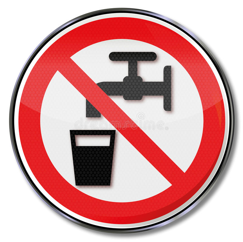 No drinking water. It is too dirty royalty free illustration