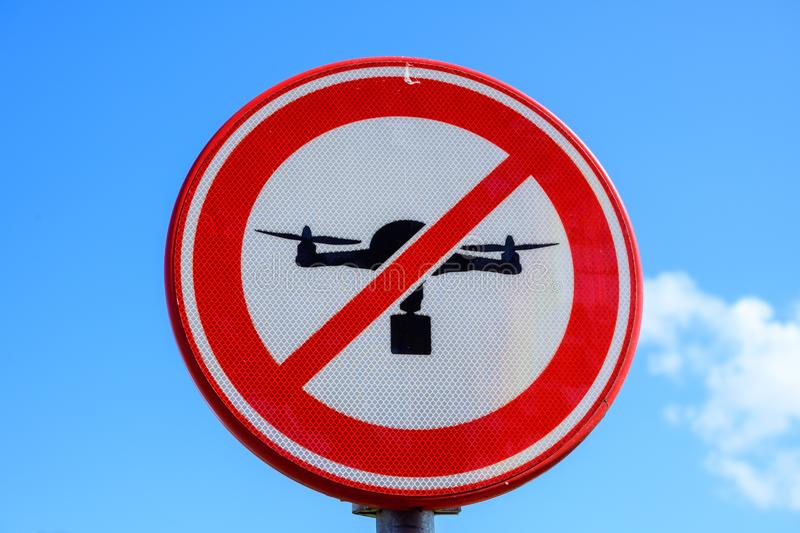 No Drone Sign advertisement, forbidden area , no fly zone royalty free stock image