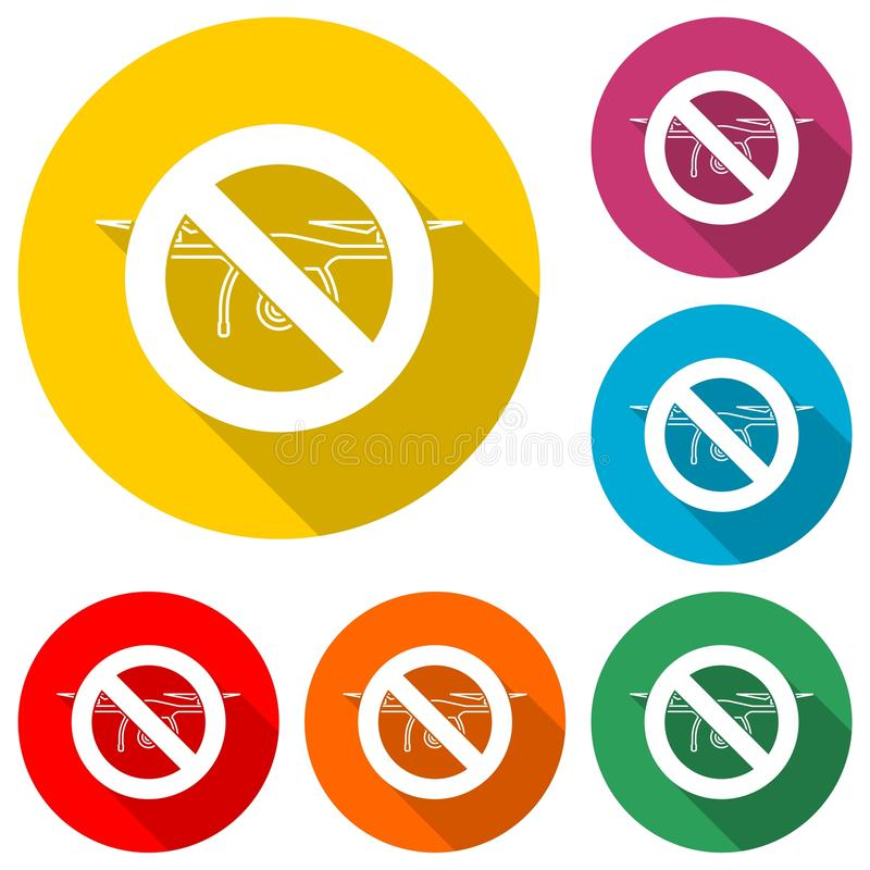 No drone traffic sign, color icon with long shadow stock illustration