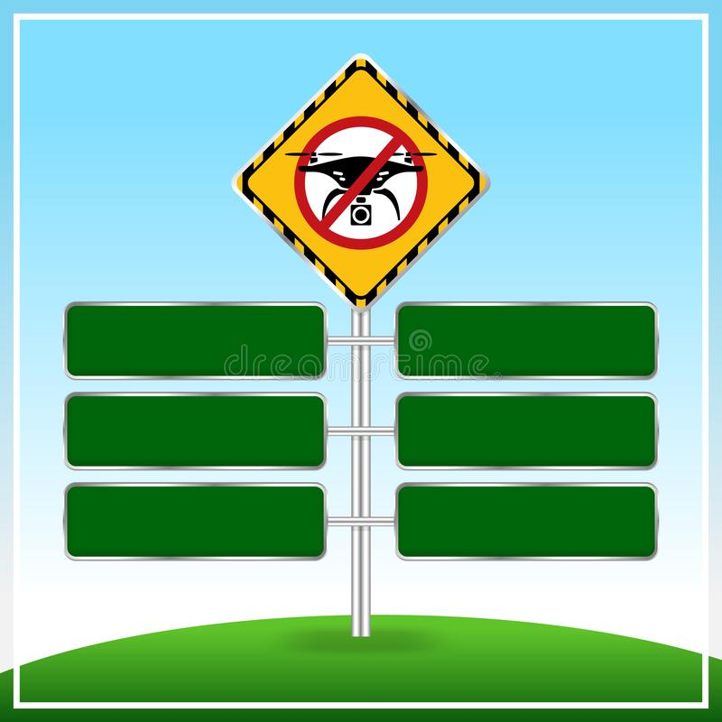 No drone zone Warning sign and Green sign boards template for copy space of text message frame, Flights with drone prohibited stock illustration